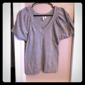 Frenchi gray dolman sleeve vneck top small